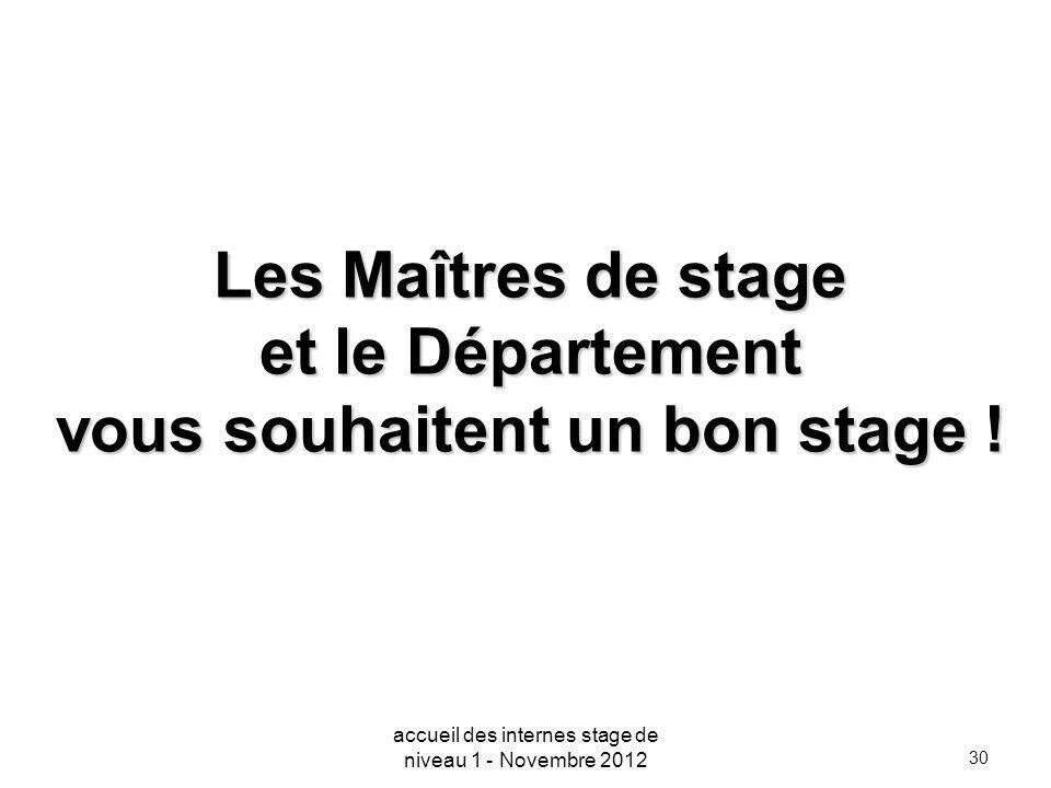 Les Maîtres de stage et le Département vous souhaitent un bon stage !