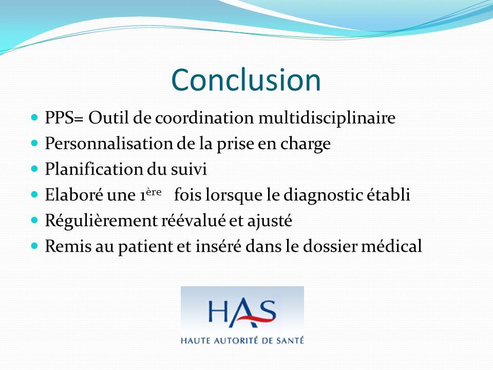 Conclusion PPS= Outil de coordination multidisciplinaire