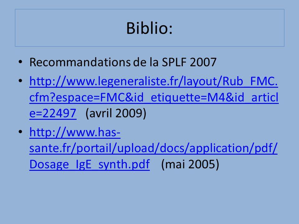 Biblio: Recommandations de la SPLF 2007