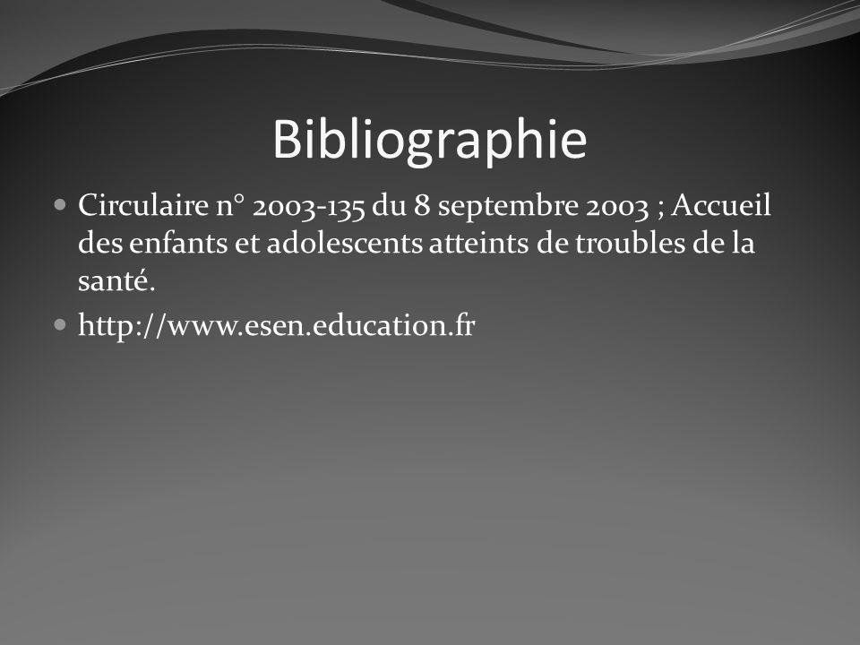 BibliographieCirculaire n° 2003-135 du 8 septembre 2003 ; Accueil des enfants et adolescents atteints de troubles de la santé.