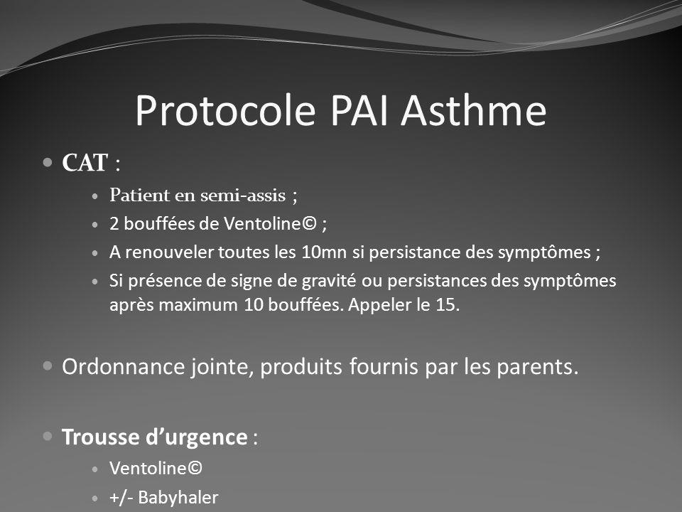 Protocole PAI Asthme CAT :
