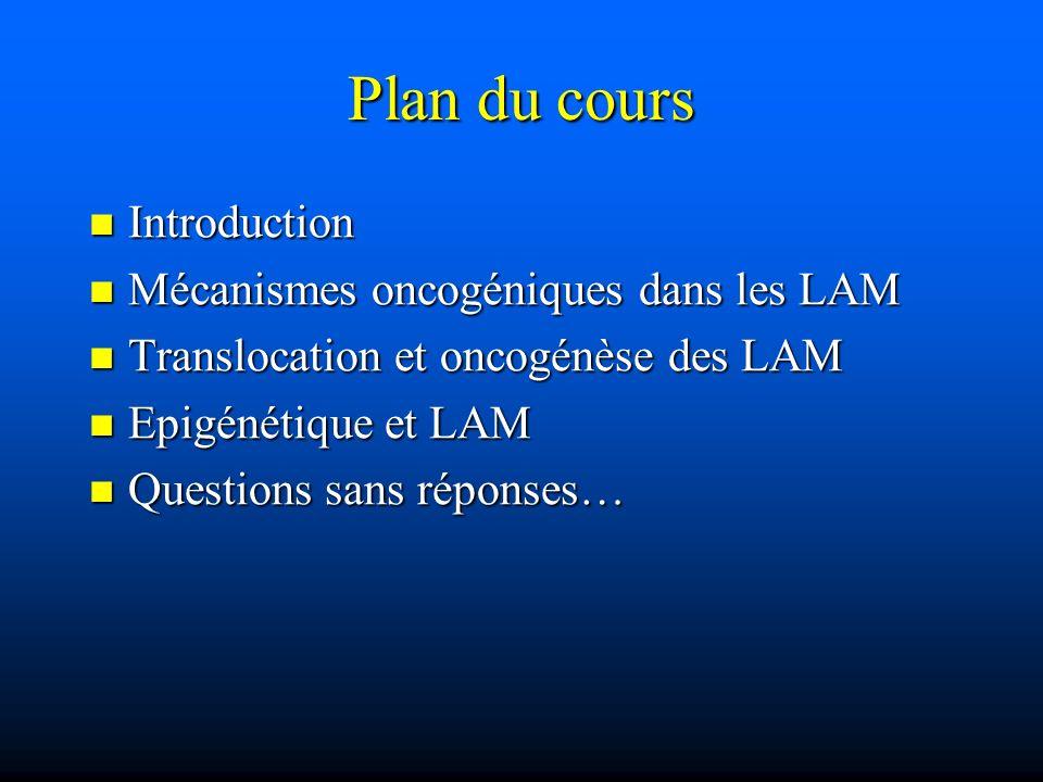 Plan du cours Introduction Mécanismes oncogéniques dans les LAM