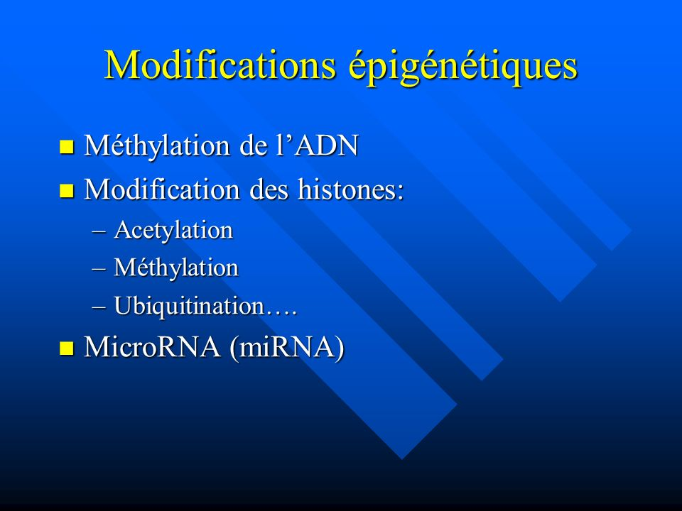 Modifications épigénétiques
