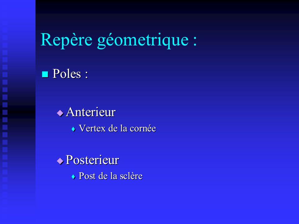 Repère géometrique : Poles : Anterieur Posterieur Vertex de la cornée
