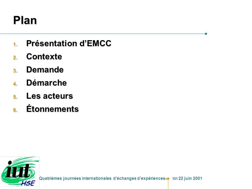 Plan Présentation d'EMCC Contexte Demande Démarche Les acteurs