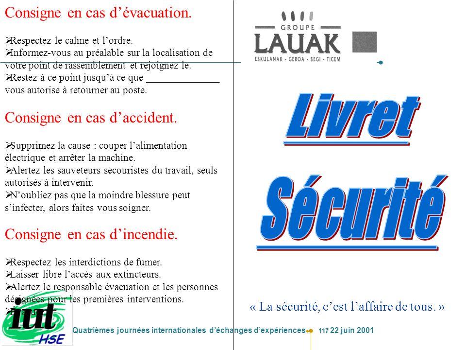 Livret Sécurité Consigne en cas d'évacuation.