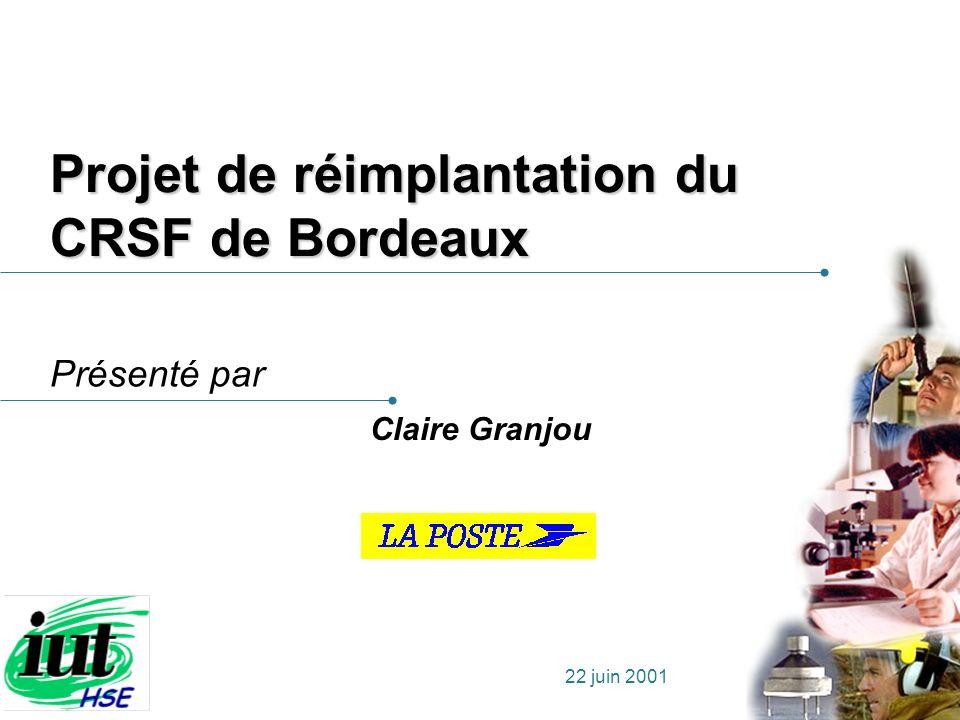 Projet de réimplantation du CRSF de Bordeaux