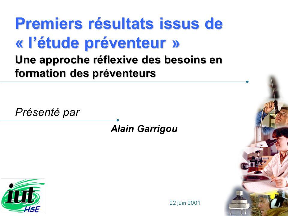 Premiers résultats issus de « l'étude préventeur »