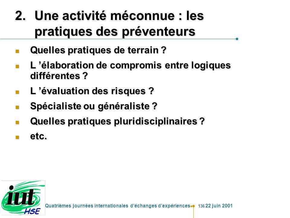 Une activité méconnue : les pratiques des préventeurs
