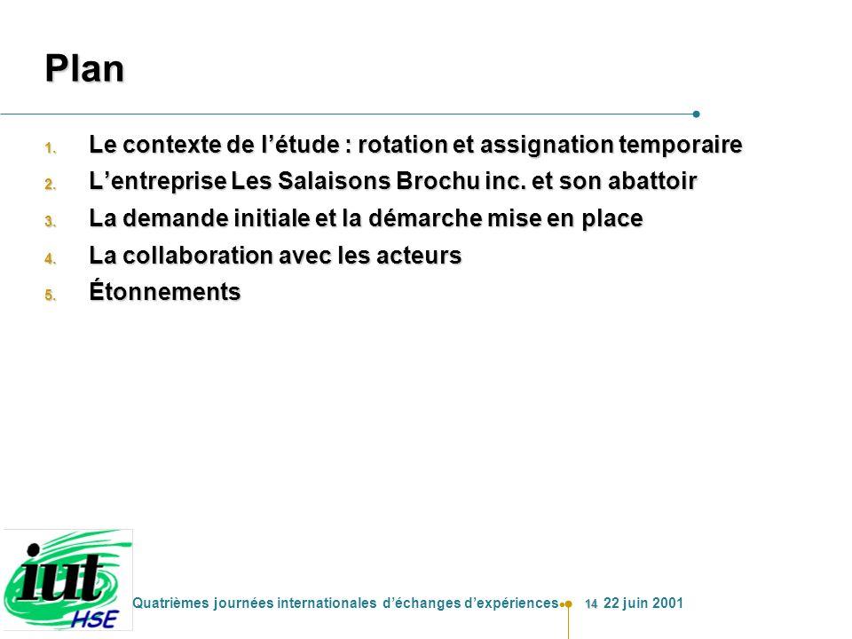 Plan Le contexte de l'étude : rotation et assignation temporaire