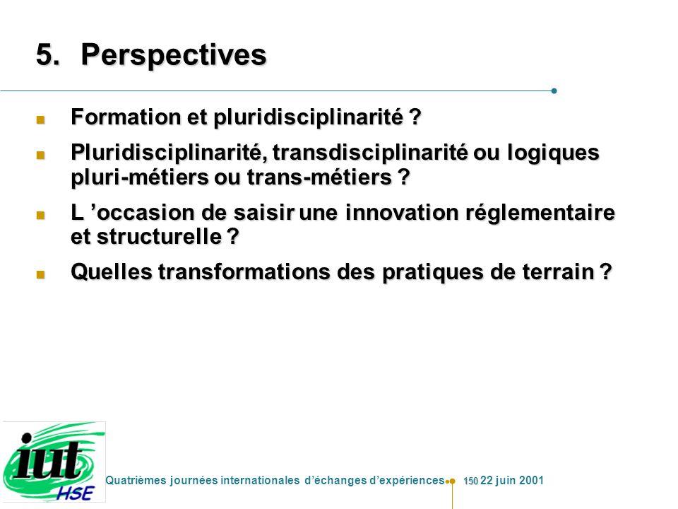 Perspectives Formation et pluridisciplinarité