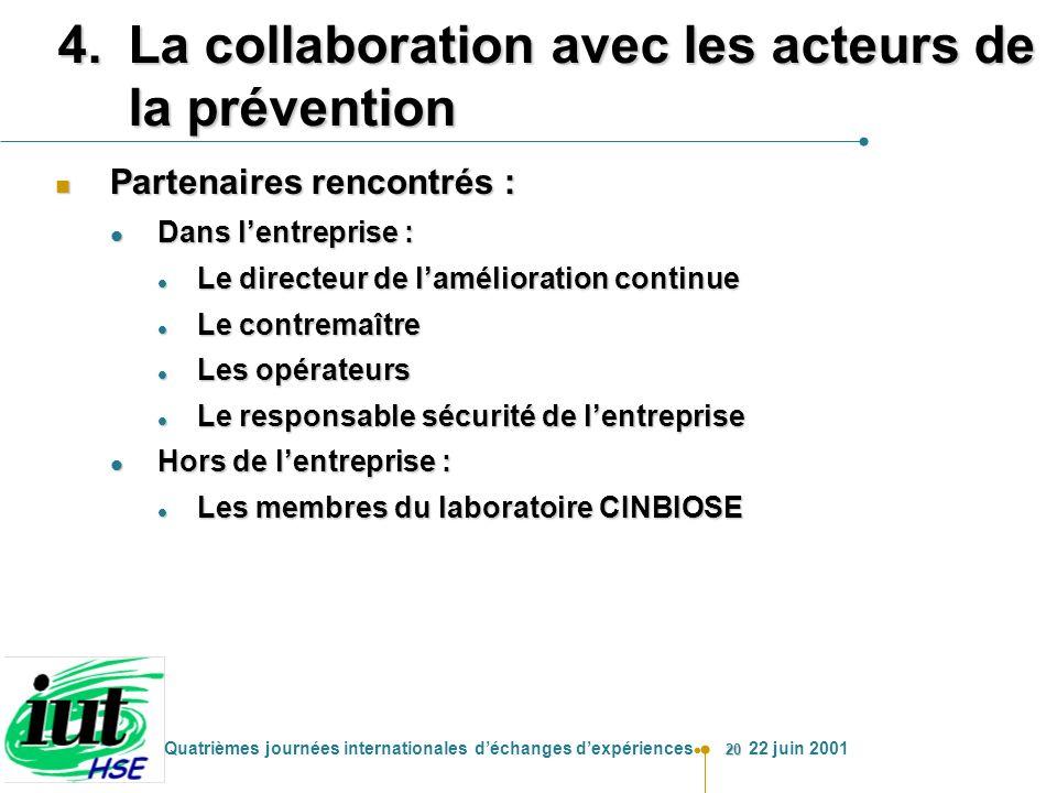 La collaboration avec les acteurs de la prévention