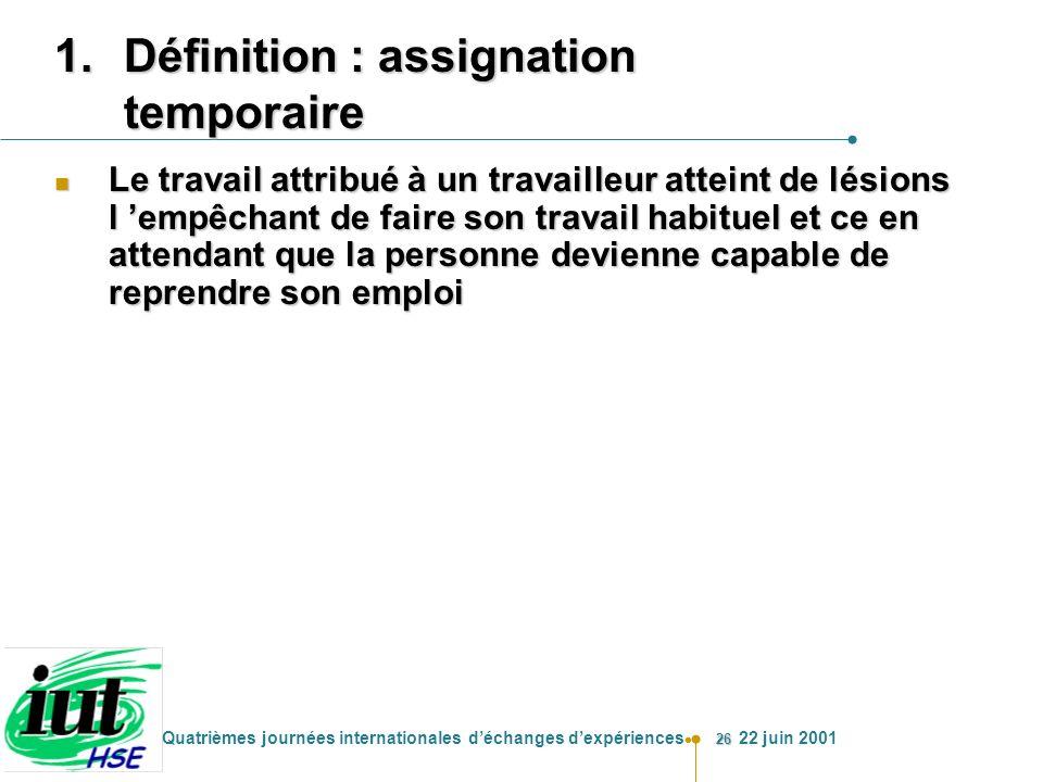 Définition : assignation temporaire