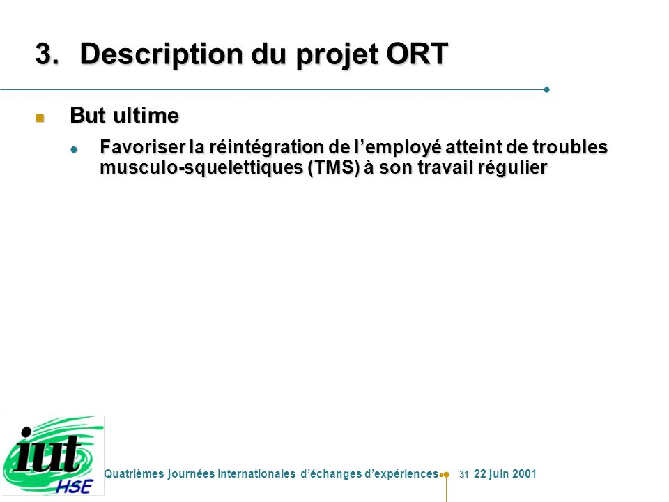 Description du projet ORT
