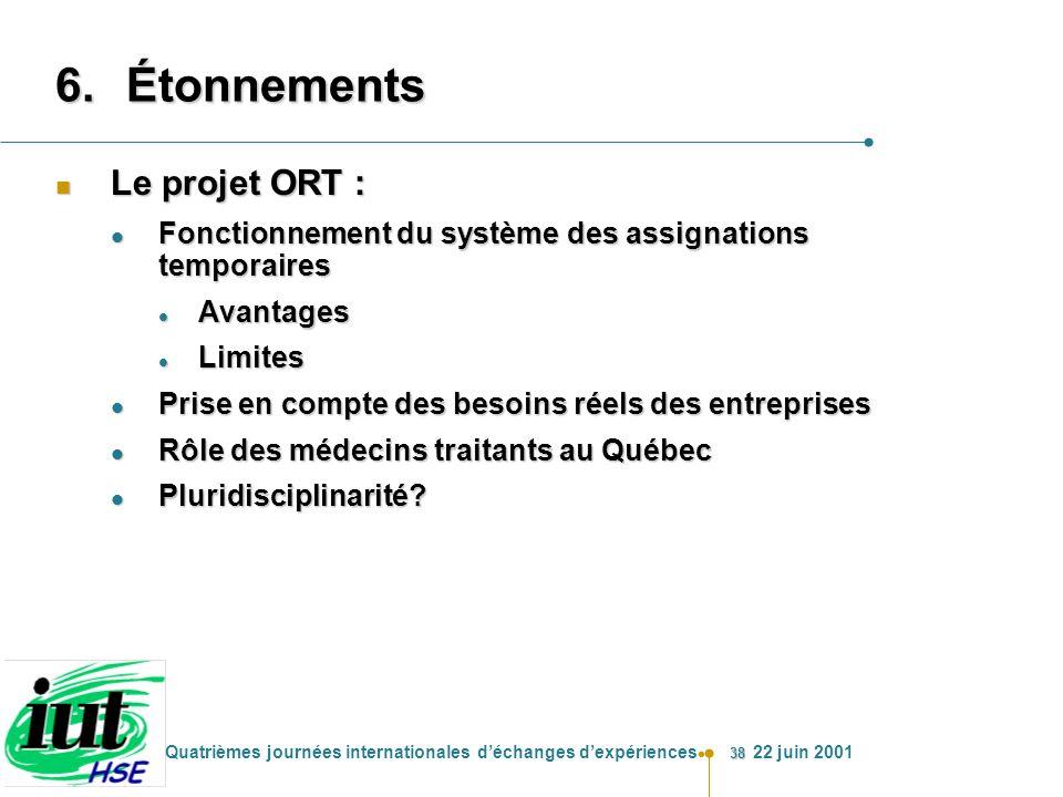 Étonnements Le projet ORT :