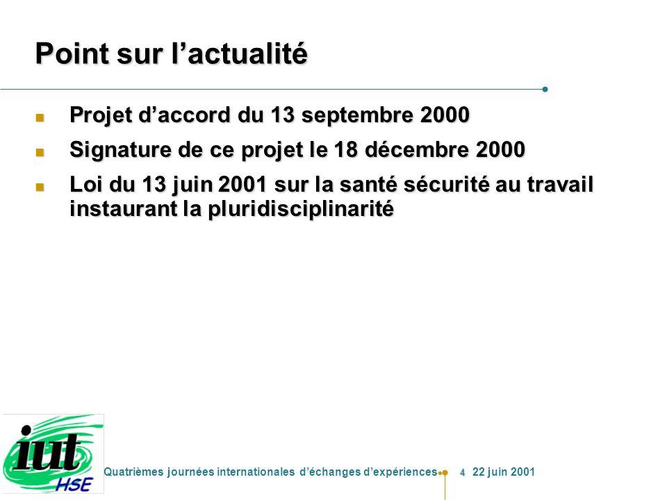 Point sur l'actualité Projet d'accord du 13 septembre 2000