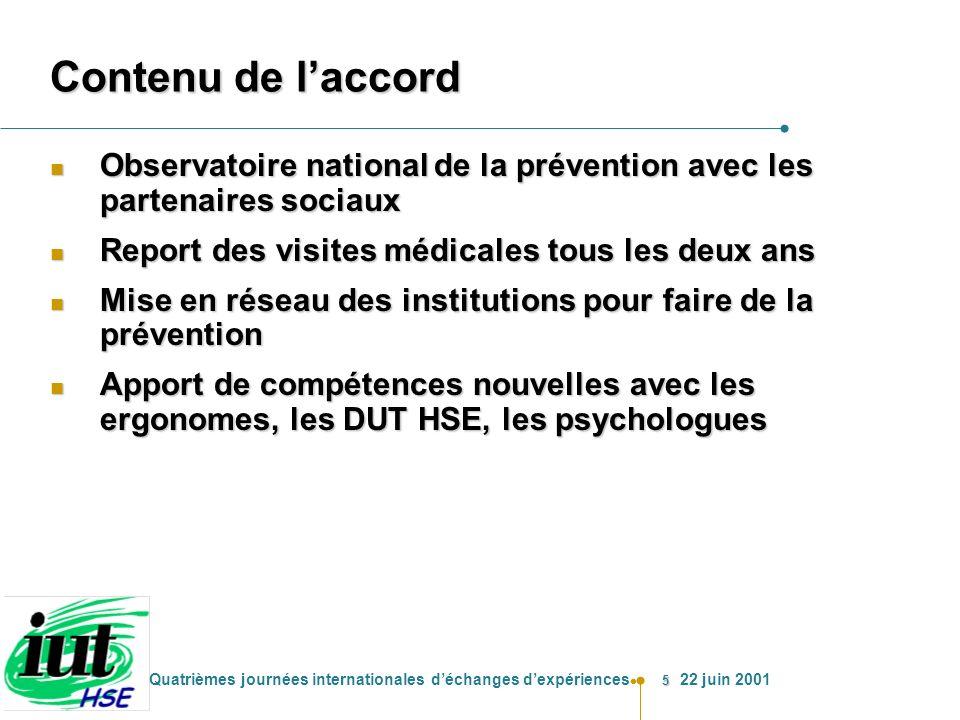 Contenu de l'accord Observatoire national de la prévention avec les partenaires sociaux. Report des visites médicales tous les deux ans.