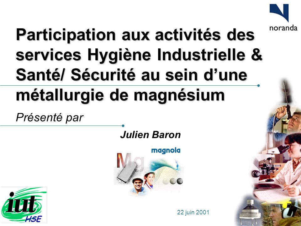 Participation aux activités des services Hygiène Industrielle & Santé/ Sécurité au sein d'une métallurgie de magnésium