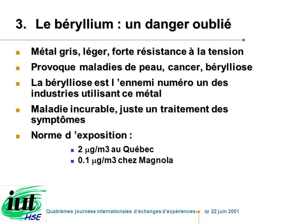 Le béryllium : un danger oublié