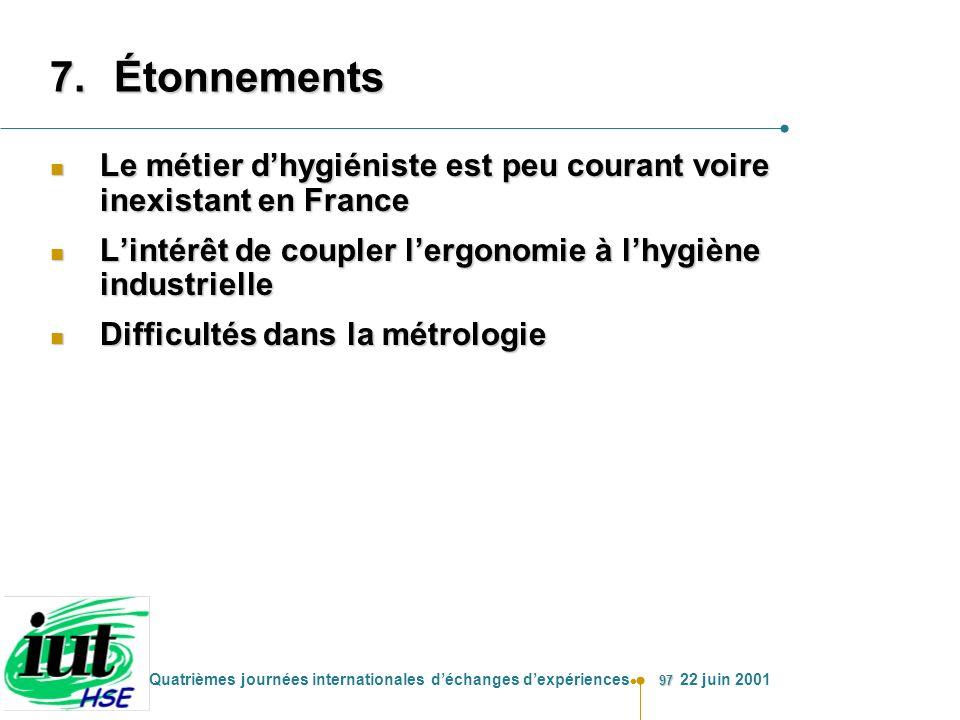 Étonnements Le métier d'hygiéniste est peu courant voire inexistant en France. L'intérêt de coupler l'ergonomie à l'hygiène industrielle.