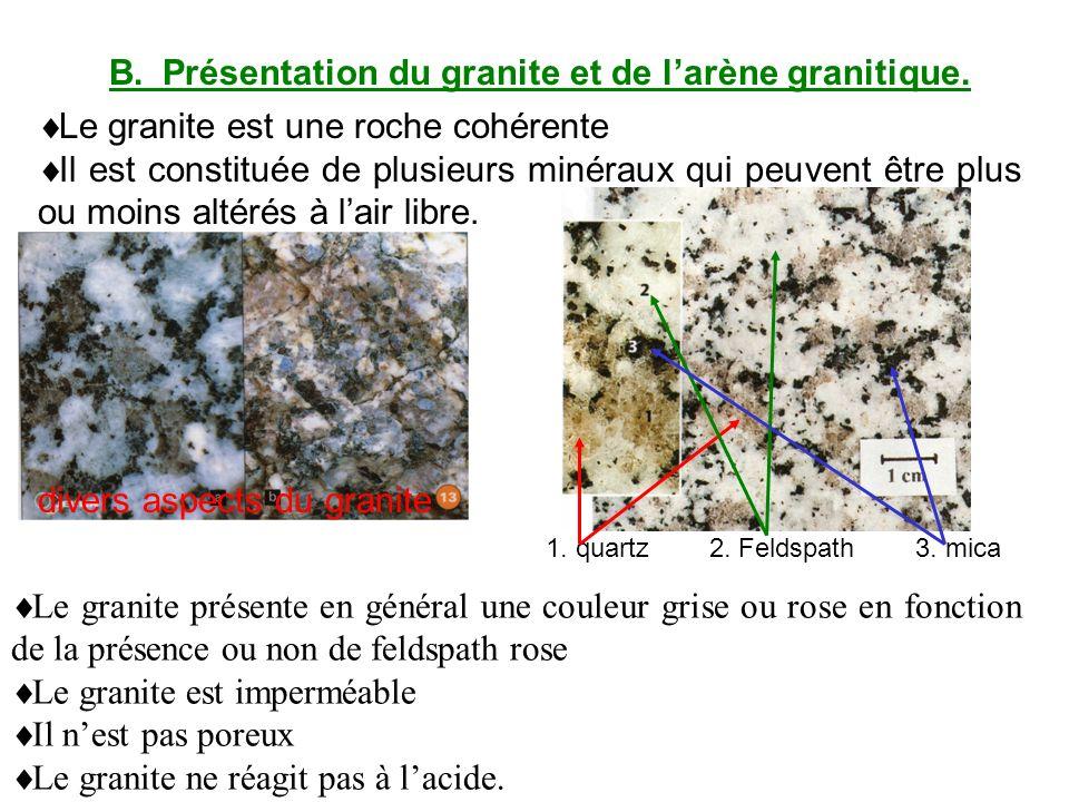 B. Présentation du granite et de l'arène granitique.