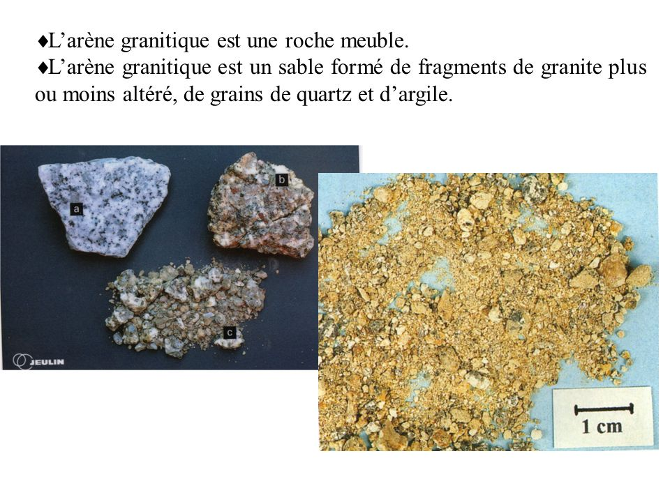 L'arène granitique est une roche meuble.