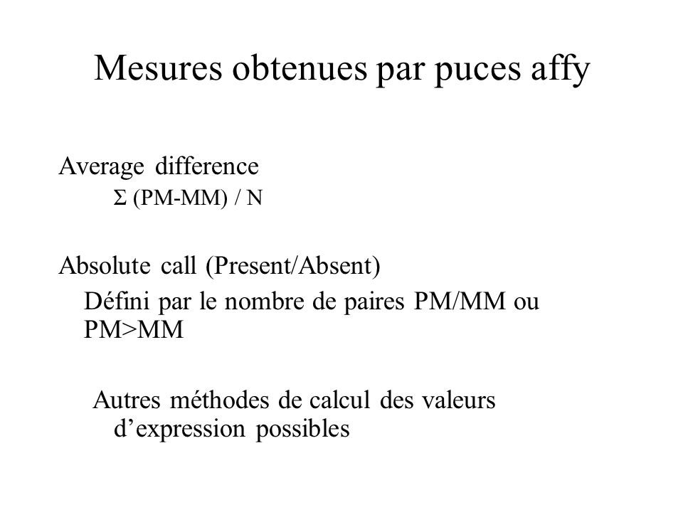Mesures obtenues par puces affy