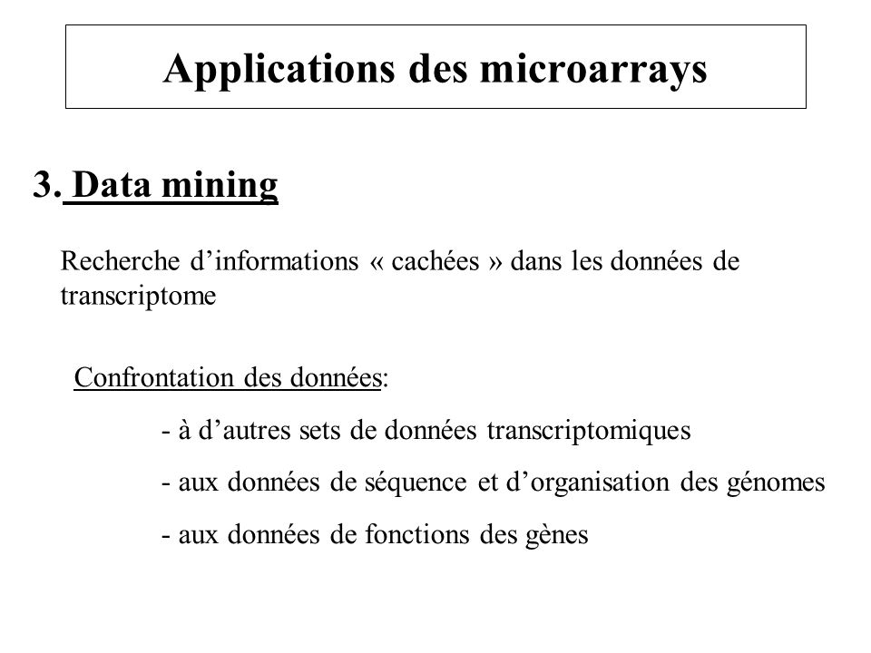 Applications des microarrays