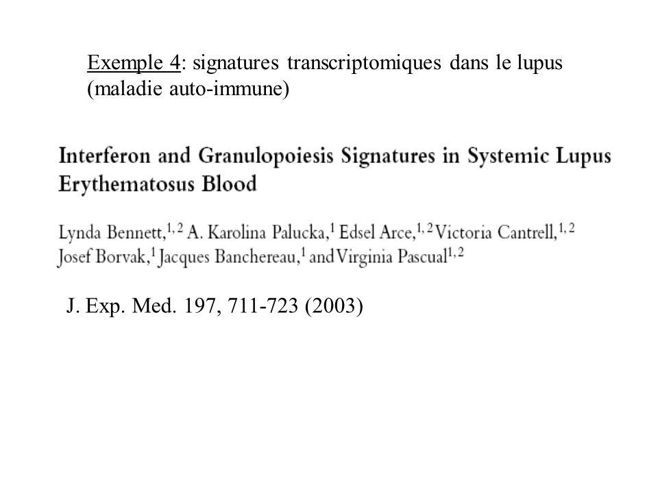 Exemple 4: signatures transcriptomiques dans le lupus (maladie auto-immune)