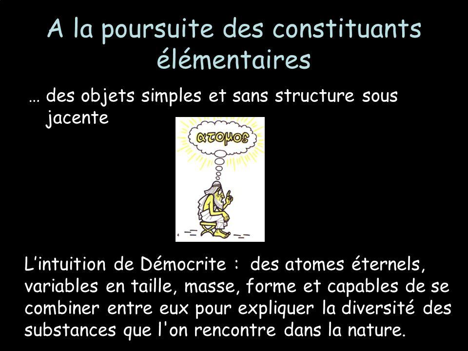 A la poursuite des constituants élémentaires