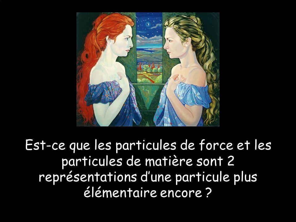 Est-ce que les particules de force et les particules de matière sont 2 représentations d'une particule plus élémentaire encore