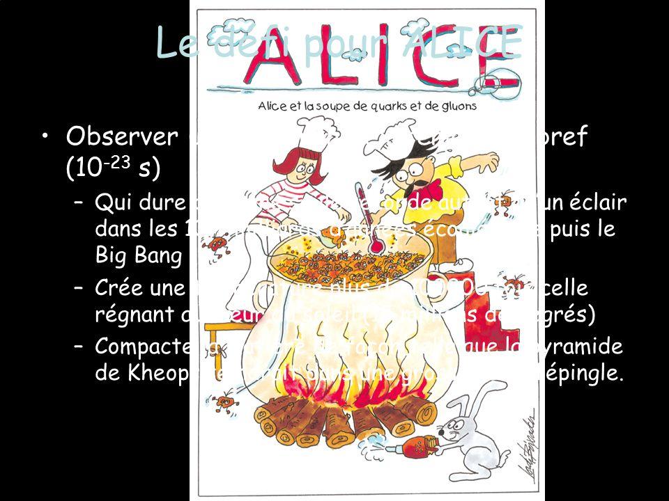 Le défi pour ALICE Observer un phénomène extrêmement bref (10-23 s)