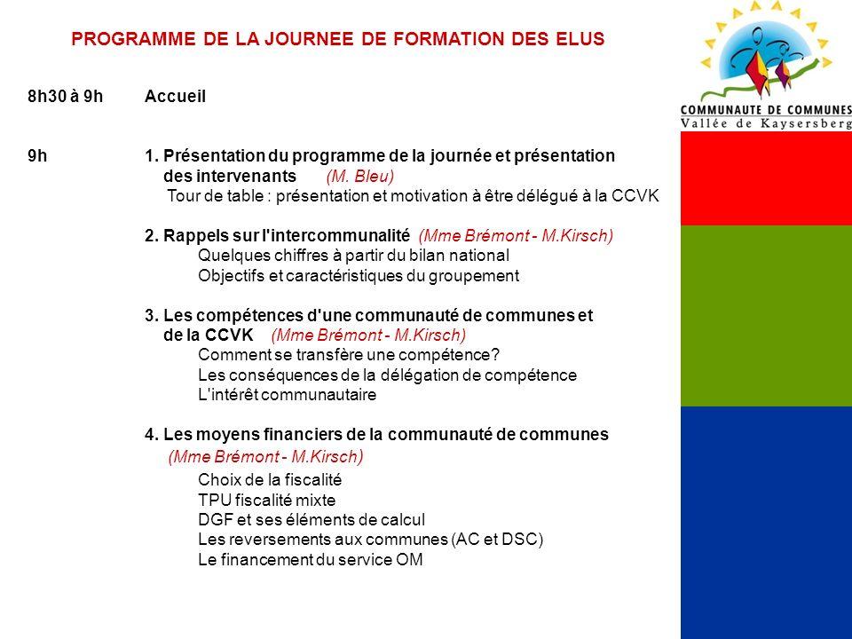 PROGRAMME DE LA JOURNEE DE FORMATION DES ELUS