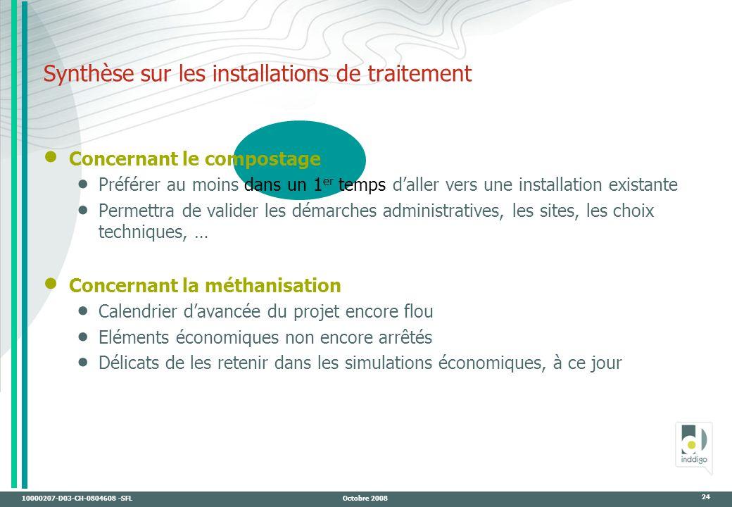 Synthèse sur les installations de traitement