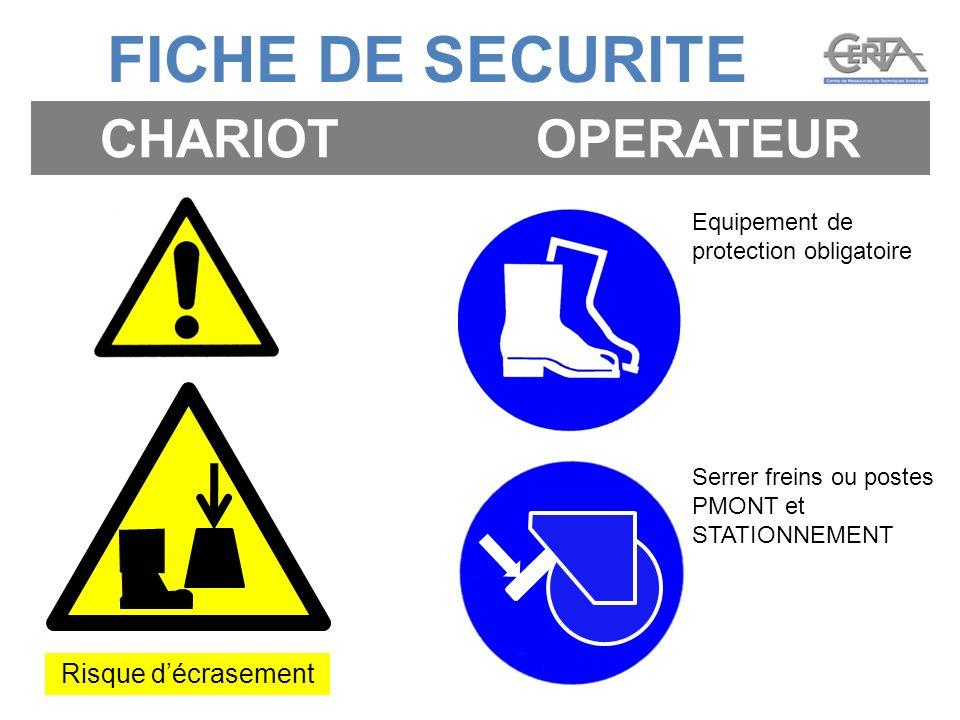 FICHE DE SECURITE CHARIOT OPERATEUR Risque d'écrasement