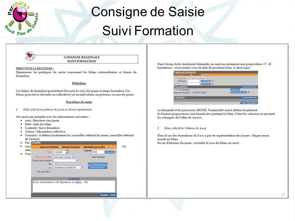 Consigne de Saisie Suivi Formation