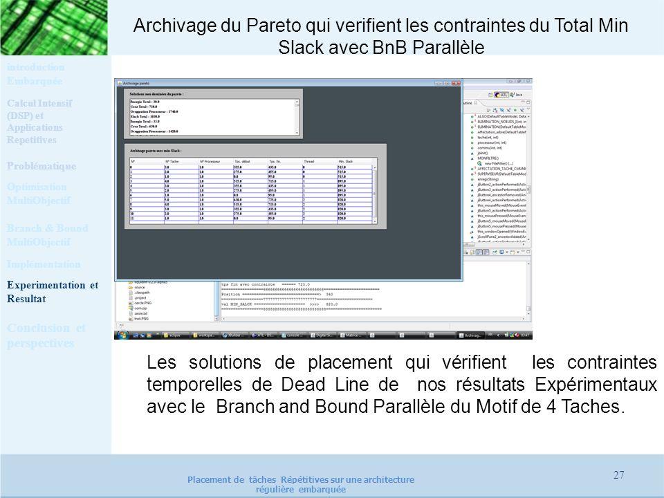 Archivage du Pareto qui verifient les contraintes du Total Min Slack avec BnB Parallèle