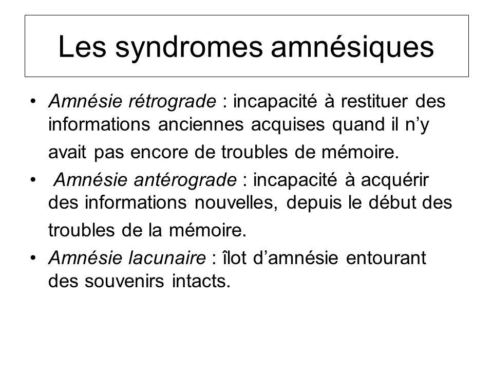 Les syndromes amnésiques