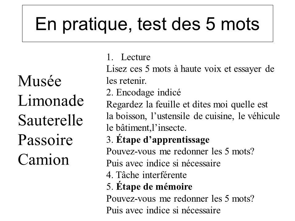 En pratique, test des 5 mots