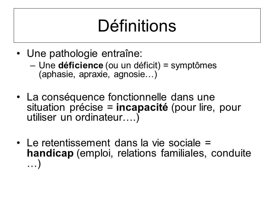 Définitions Une pathologie entraîne: