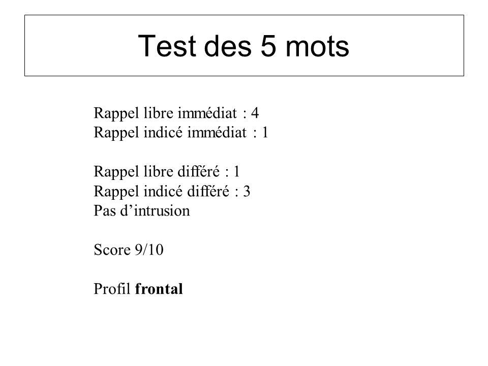 Test des 5 mots Rappel libre immédiat : 4 Rappel indicé immédiat : 1