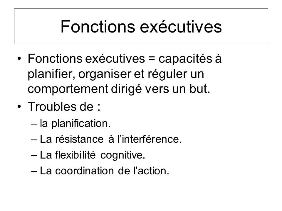 Fonctions exécutives Fonctions exécutives = capacités à planifier, organiser et réguler un comportement dirigé vers un but.
