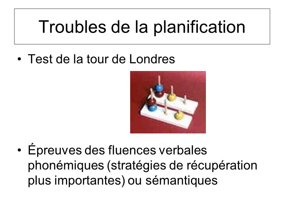 Troubles de la planification