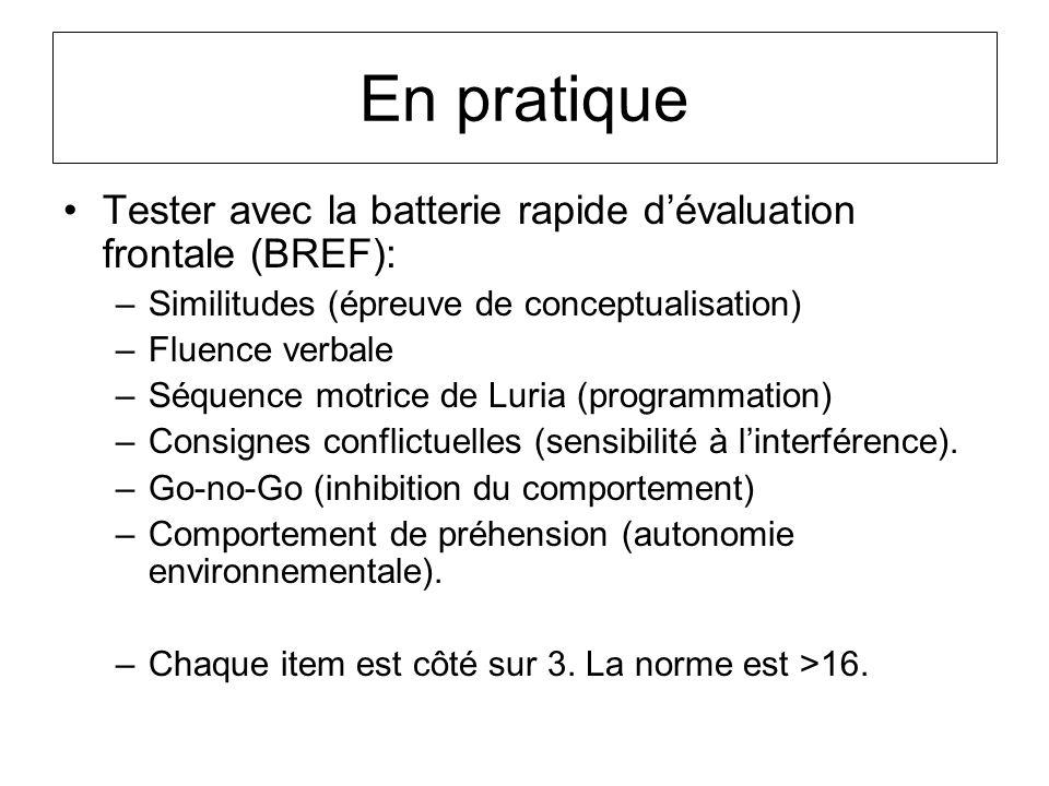 En pratique Tester avec la batterie rapide d'évaluation frontale (BREF): Similitudes (épreuve de conceptualisation)
