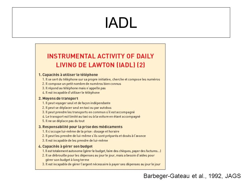 IADL Barbeger-Gateau et al., 1992, JAGS