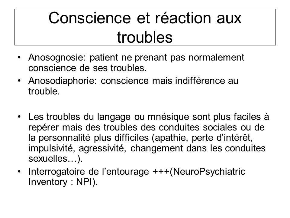 Conscience et réaction aux troubles