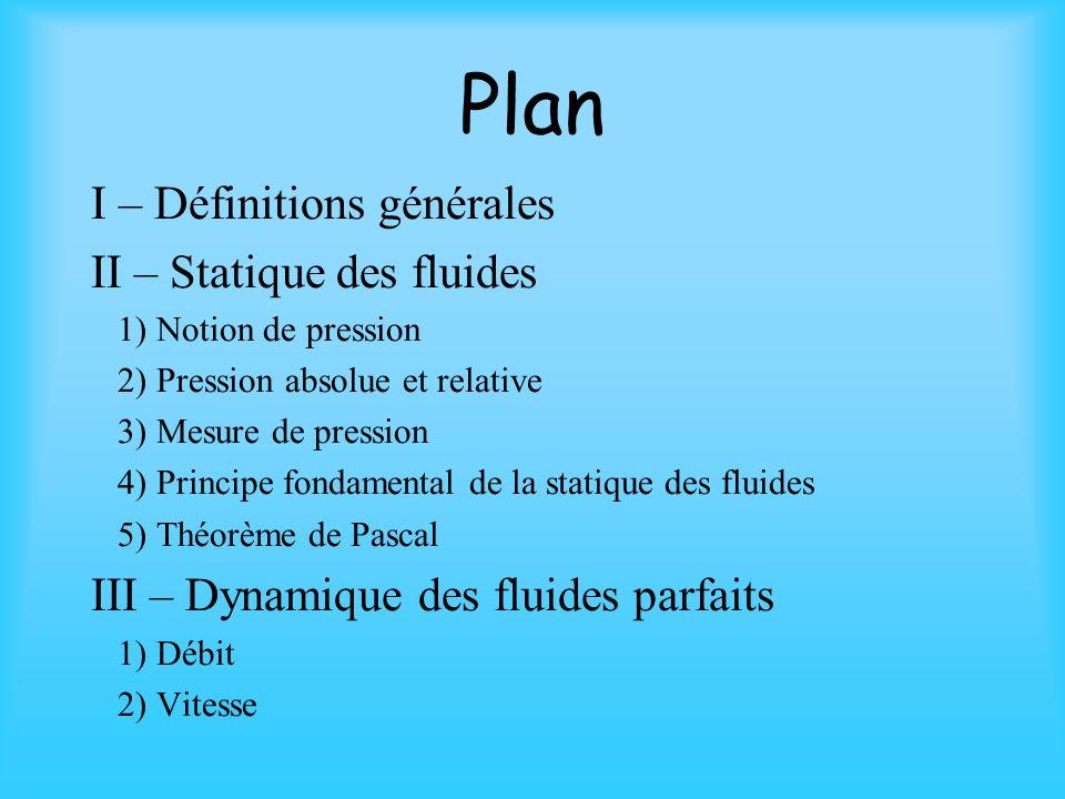 Plan I – Définitions générales II – Statique des fluides