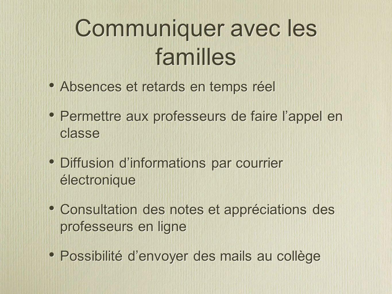 Communiquer avec les familles