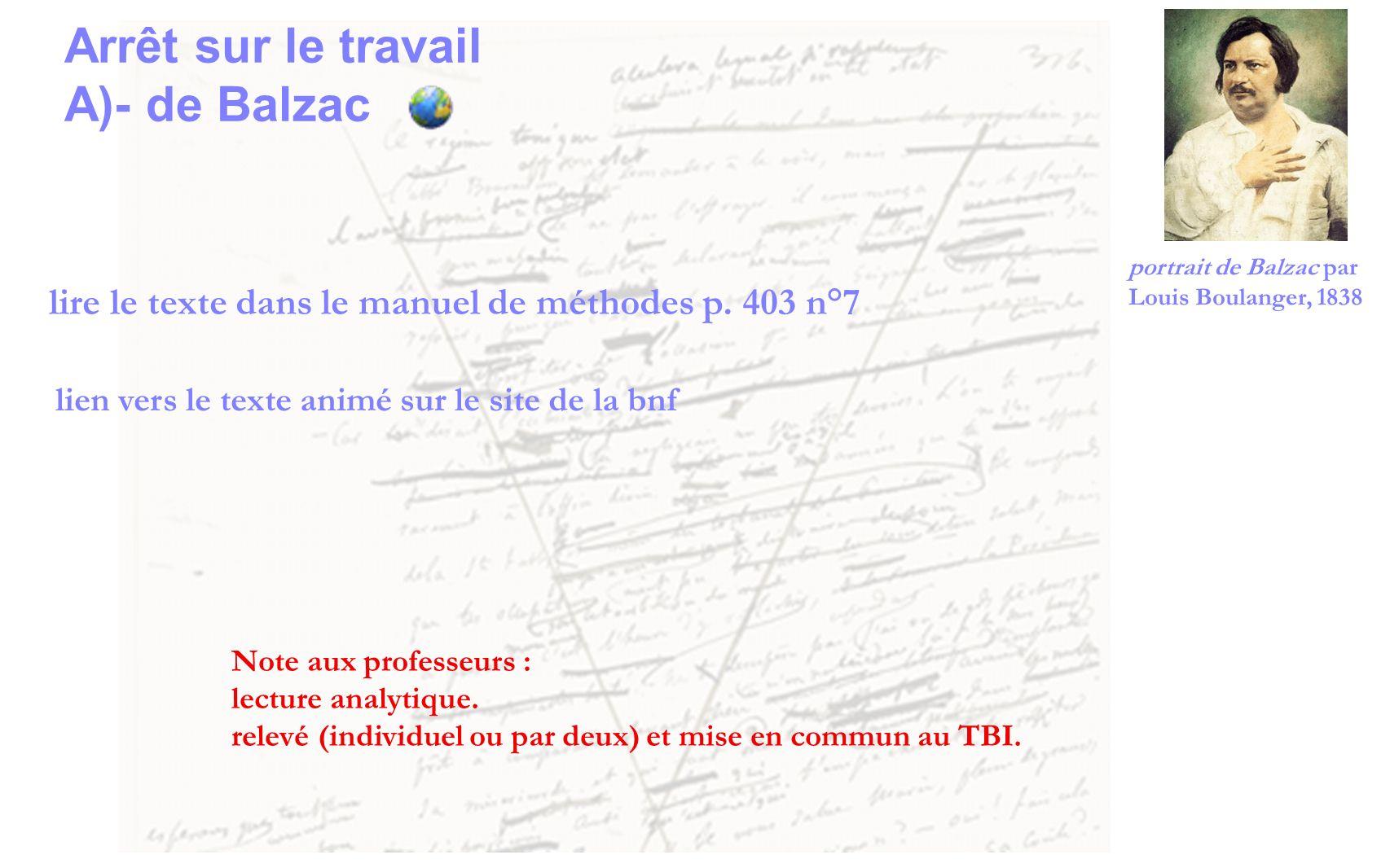 Arrêt sur le travail A)- de Balzac