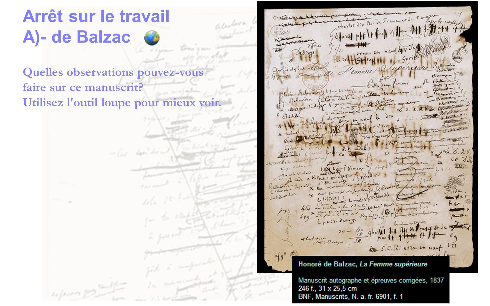 Arrêt sur le travail A)- de Balzac Quelles observations pouvez-vous